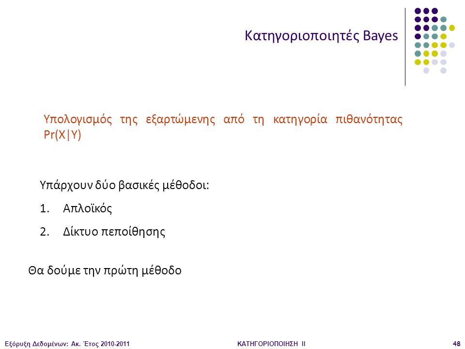 Εξόρυξη Δεδομένων: Ακ. Έτος 2010-2011ΚΑΤΗΓΟΡΙΟΠΟΙΗΣΗ II48 Κατηγοριοποιητές Bayes Υπολογισμός της εξαρτώμενης από τη κατηγορία πιθανότητας Pr(X|Y) Υπάρ