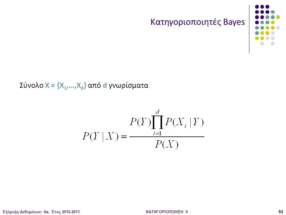 Εξόρυξη Δεδομένων: Ακ. Έτος 2010-2011ΚΑΤΗΓΟΡΙΟΠΟΙΗΣΗ II53 Κατηγοριοποιητές Bayes Σύνολο X = {X 1,…,X d } από d γνωρίσματα