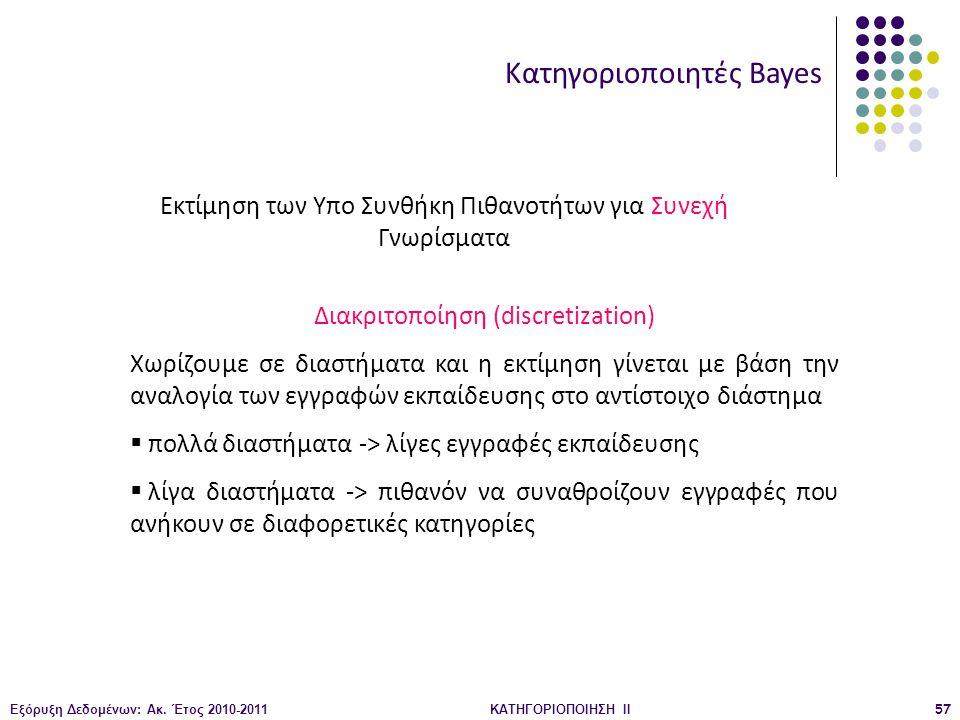 Εξόρυξη Δεδομένων: Ακ. Έτος 2010-2011ΚΑΤΗΓΟΡΙΟΠΟΙΗΣΗ II57 Κατηγοριοποιητές Bayes Εκτίμηση των Υπο Συνθήκη Πιθανοτήτων για Συνεχή Γνωρίσματα Διακριτοπο