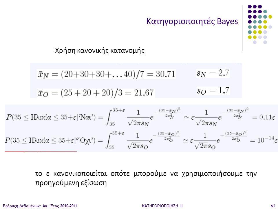 Εξόρυξη Δεδομένων: Ακ. Έτος 2010-2011ΚΑΤΗΓΟΡΙΟΠΟΙΗΣΗ II61 Κατηγοριοποιητές Bayes Χρήση κανονικής κατανομής το ε κανονικοποιείται οπότε μπορούμε να χρη