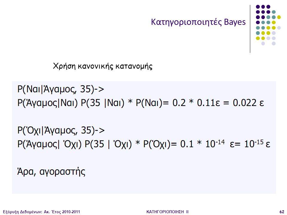 Εξόρυξη Δεδομένων: Ακ. Έτος 2010-2011ΚΑΤΗΓΟΡΙΟΠΟΙΗΣΗ II62 Κατηγοριοποιητές Bayes Χρήση κανονικής κατανομής
