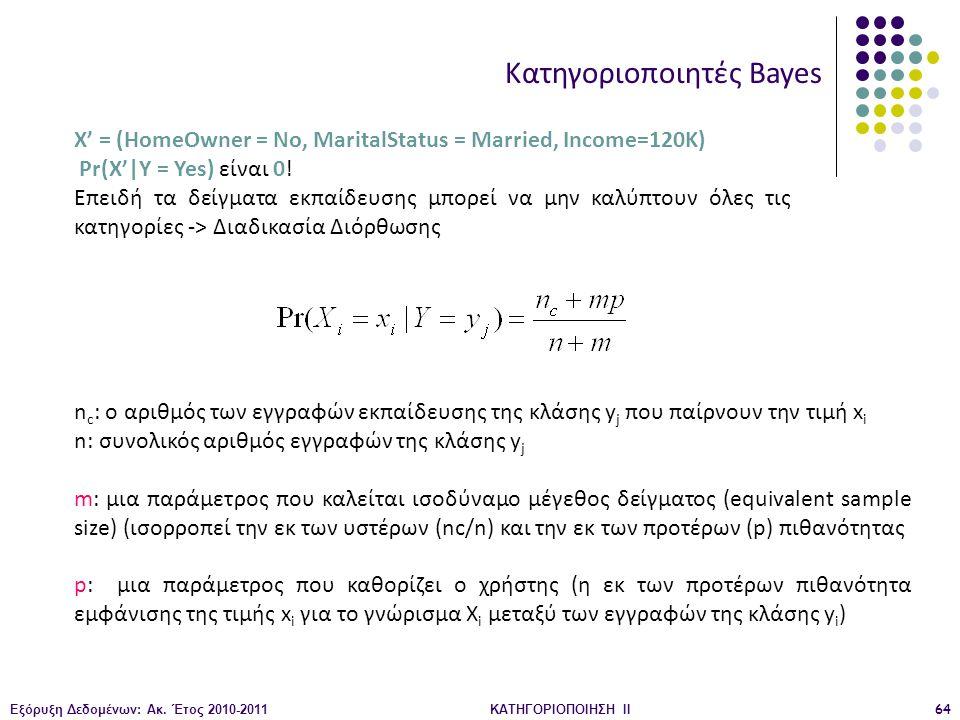 Εξόρυξη Δεδομένων: Ακ. Έτος 2010-2011ΚΑΤΗΓΟΡΙΟΠΟΙΗΣΗ II64 X' = (HomeOwner = No, MaritalStatus = Married, Income=120K) Pr(X'|Y = Yes) είναι 0! Επειδή τ