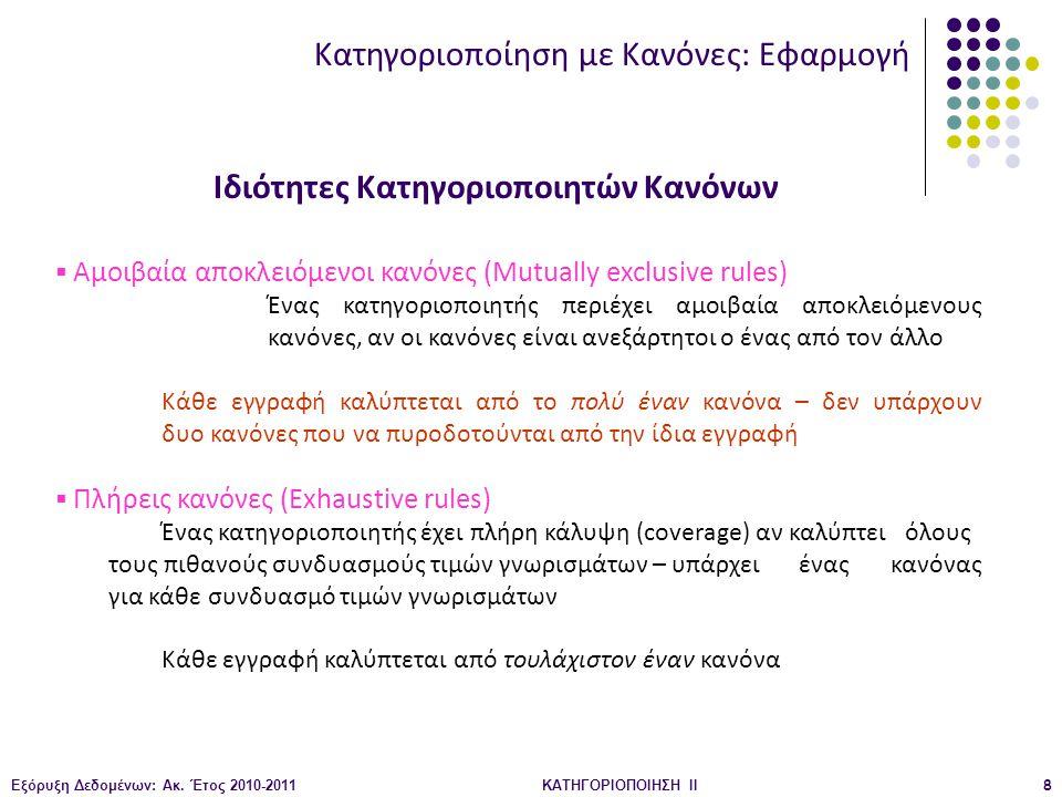 Εξόρυξη Δεδομένων: Ακ. Έτος 2010-2011ΚΑΤΗΓΟΡΙΟΠΟΙΗΣΗ II8 Ιδιότητες Κατηγοριοποιητών Κανόνων  Αμοιβαία αποκλειόμενοι κανόνες (Mutually exclusive rules