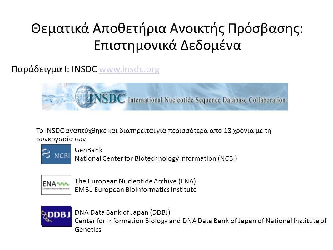 Το INSDC αναπτύχθηκε και διατηρείται για περισσότερα από 18 χρόνια με τη συνεργασία των: GenBank National Center for Biotechnology Information (NCBI) The European Nucleotide Archive (ENA) EMBL-European Bioinformatics Institute DNA Data Bank of Japan (DDBJ) Center for Information Biology and DNA Data Bank of Japan of National Institute of Genetics Θεματικά Αποθετήρια Ανοικτής Πρόσβασης: Επιστημονικά Δεδομένα Παράδειγμα I: INSDC www.insdc.orgwww.insdc.org