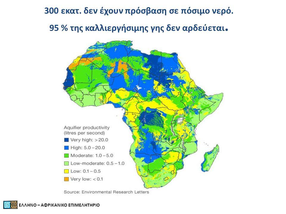300 εκατ. δεν έχουν πρόσβαση σε πόσιμο νερό. 95 % της καλλιεργήσιμης γης δεν αρδεύεται.