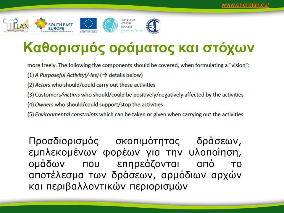 www.cherplan.eu/ Καθορισμός οράματος και στόχων Προσδιορισμός σκοπιμότητας δράσεων, εμπλεκομένων φορέων για την υλοποίηση, ομάδων που επηρεάζονται από το αποτέλεσμα των δράσεων, αρμόδιων αρχών και περιβαλλοντικών περιορισμών