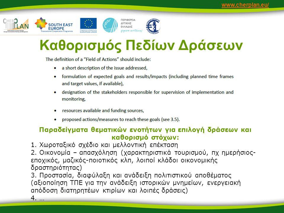 www.cherplan.eu/ Καθορισμός Πεδίων Δράσεων Παραδείγματα θεματικών ενοτήτων για επιλογή δράσεων και καθορισμό στόχων: 1.
