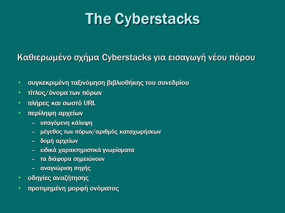 Τhe Cyberstacks Καθιερωμένο σχήμα Cyberstacks για εισαγωγή νέου πόρου •συγκεκριμένη ταξινόμηση βιβλιοθήκης του συνεδρίου •τίτλος/όνομα των πόρων •πλήρες και σωστό URL •περίληψη αρχείων –υπαγόμενη κάλυψη –μέγεθος των πόρων/αριθμός καταχωρήσεων –δομή αρχείων –ειδικά χαρακτηριστικά γνωρίσματα –τα διάφορα σημειώνουν –αναγνώριση πηγής •οδηγίες αναζήτησης •προτιμημένη μορφή ονόματος