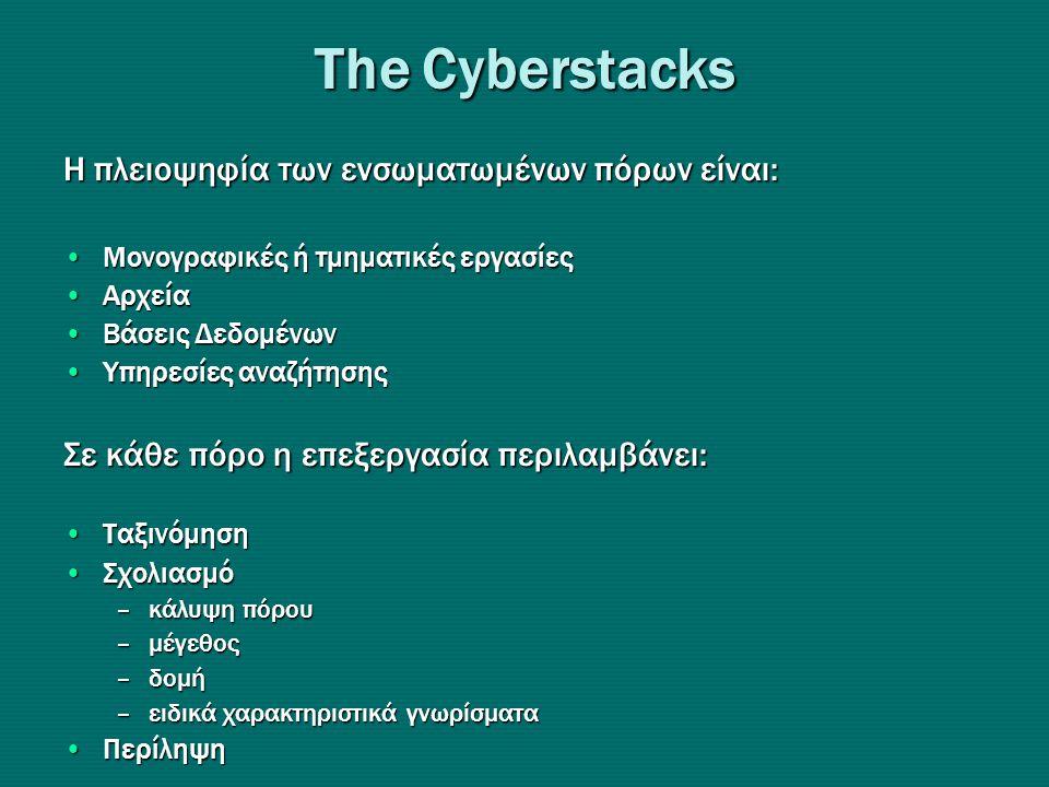 Τhe Cyberstacks Η πλειοψηφία των ενσωματωμένων πόρων είναι: •Μονογραφικές ή τμηματικές εργασίες •Αρχεία •Βάσεις Δεδομένων •Υπηρεσίες αναζήτησης Σε κάθε πόρο η επεξεργασία περιλαμβάνει: •Ταξινόμηση •Σχολιασμό –κάλυψη πόρου –μέγεθος –δομή –ειδικά χαρακτηριστικά γνωρίσματα •Περίληψη