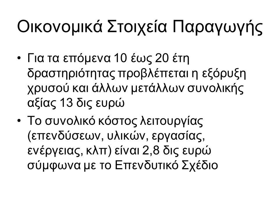 Οικονομικά Στοιχεία Παραγωγής •Για τα επόμενα 10 έως 20 έτη δραστηριότητας προβλέπεται η εξόρυξη χρυσού και άλλων μετάλλων συνολικής αξίας 13 δις ευρώ •Το συνολικό κόστος λειτουργίας (επενδύσεων, υλικών, εργασίας, ενέργειας, κλπ) είναι 2,8 δις ευρώ σύμφωνα με το Επενδυτικό Σχέδιο