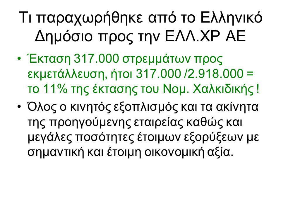 Τι παραχωρήθηκε από το Ελληνικό Δημόσιο προς την ΕΛΛ.ΧΡ ΑΕ •Έκταση 317.000 στρεμμάτων προς εκμετάλλευση, ήτοι 317.000 /2.918.000 = το 11% της έκτασης του Νομ.