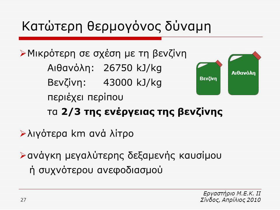 27 Κατώτερη θερμογόνος δύναμη  Μικρότερη σε σχέση με τη βενζίνη Αιθανόλη:26750 kJ/kg Βενζίνη:43000 kJ/kg περιέχει περίπου τα 2/3 της ενέργειας της βενζίνης  λιγότερα km ανά λίτρο  ανάγκη μεγαλύτερης δεξαμενής καυσίμου ή συχνότερου ανεφοδιασμού Αιθανόλη Βενζίνη Εργαστήριο Μ.Ε.Κ.