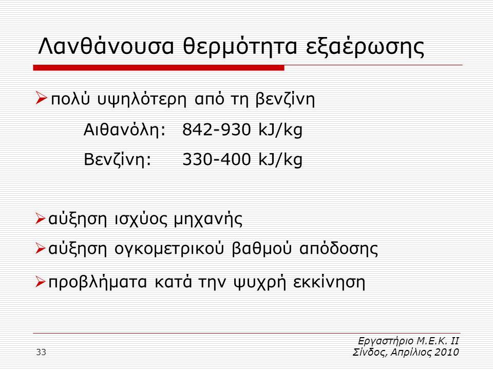 33 Λανθάνουσα θερμότητα εξαέρωσης  πολύ υψηλότερη από τη βενζίνη Αιθανόλη:842-930 kJ/kg Βενζίνη:330-400 kJ/kg  αύξηση ισχύος μηχανής  αύξηση ογκομετρικού βαθμού απόδοσης  προβλήματα κατά την ψυχρή εκκίνηση Εργαστήριο Μ.Ε.Κ.