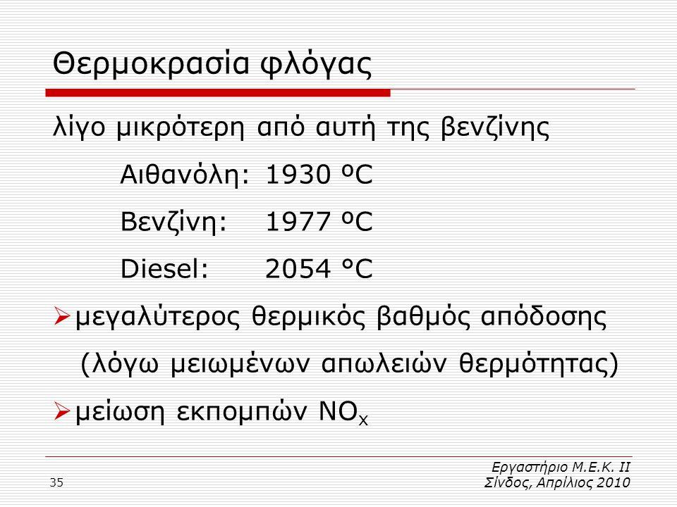 35 Θερμοκρασία φλόγας λίγο μικρότερη από αυτή της βενζίνης Αιθανόλη: 1930 ºC Βενζίνη: 1977 ºC Diesel: 2054 °C  μεγαλύτερος θερμικός βαθμός απόδοσης (λόγω μειωμένων απωλειών θερμότητας)  μείωση εκπομπών NO x Εργαστήριο Μ.Ε.Κ.