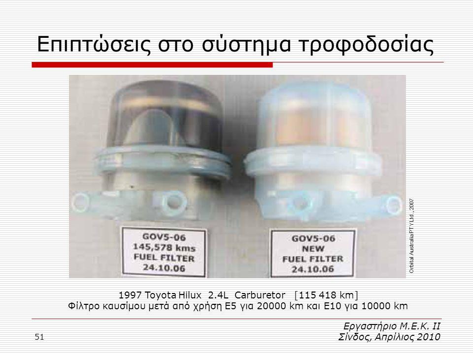 51 Επιπτώσεις στο σύστημα τροφοδοσίας 1997 Toyota Hilux 2.4L Carburetor [115 418 km] Φίλτρο καυσίμου μετά από χρήση E5 για 20000 km και E10 για 10000 km Εργαστήριο Μ.Ε.Κ.