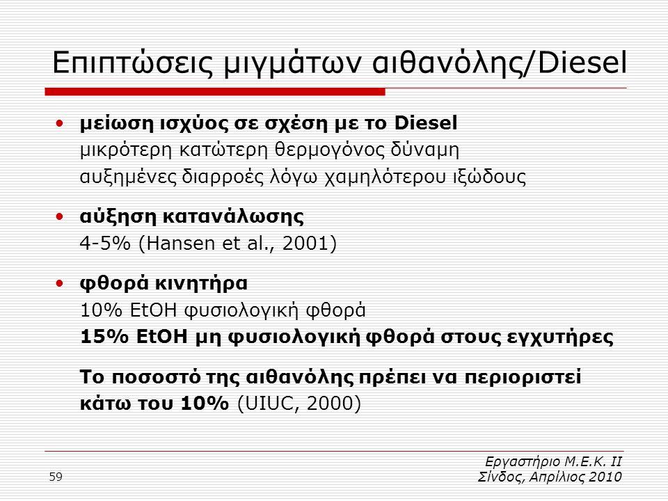 59 Επιπτώσεις μιγμάτων αιθανόλης/Diesel •μείωση ισχύος σε σχέση με το Diesel μικρότερη κατώτερη θερμογόνος δύναμη αυξημένες διαρροές λόγω χαμηλότερου ιξώδους •αύξηση κατανάλωσης 4-5% (Hansen et al., 2001) •φθορά κινητήρα 10% ΕtOH φυσιολογική φθορά 15% EtOH μη φυσιολογική φθορά στους εγχυτήρες Το ποσοστό της αιθανόλης πρέπει να περιοριστεί κάτω του 10% (UIUC, 2000) Εργαστήριο Μ.Ε.Κ.