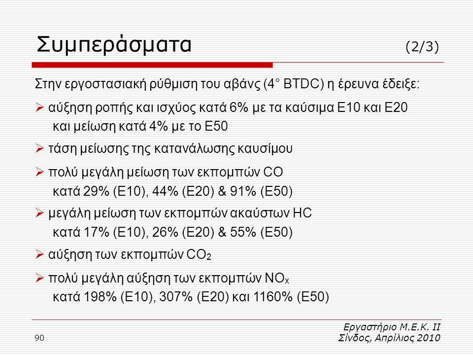 90 Στην εργοστασιακή ρύθμιση του αβάνς (4° BTDC) η έρευνα έδειξε:  αύξηση ροπής και ισχύος κατά 6% με τα καύσιμα Ε10 και Ε20 και μείωση κατά 4% με το Ε50  τάση μείωσης της κατανάλωσης καυσίμου  πολύ μεγάλη μείωση των εκπομπών CO κατά 29% (Ε10), 44% (Ε20) & 91% (Ε50)  μεγάλη μείωση των εκπομπών ακαύστων HC κατά 17% (Ε10), 26% (Ε20) & 55% (Ε50)  αύξηση των εκπομπών CO 2  πολύ μεγάλη αύξηση των εκπομπών NO x κατά 198% (E10), 307% (E20) και 1160% (Ε50) Εργαστήριο Μ.Ε.Κ.