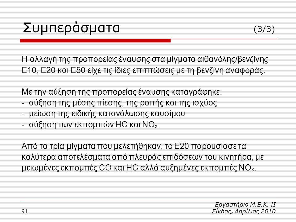 91 Η αλλαγή της προπορείας έναυσης στα μίγματα αιθανόλης/βενζίνης Ε10, Ε20 και Ε50 είχε τις ίδιες επιπτώσεις με τη βενζίνη αναφοράς.