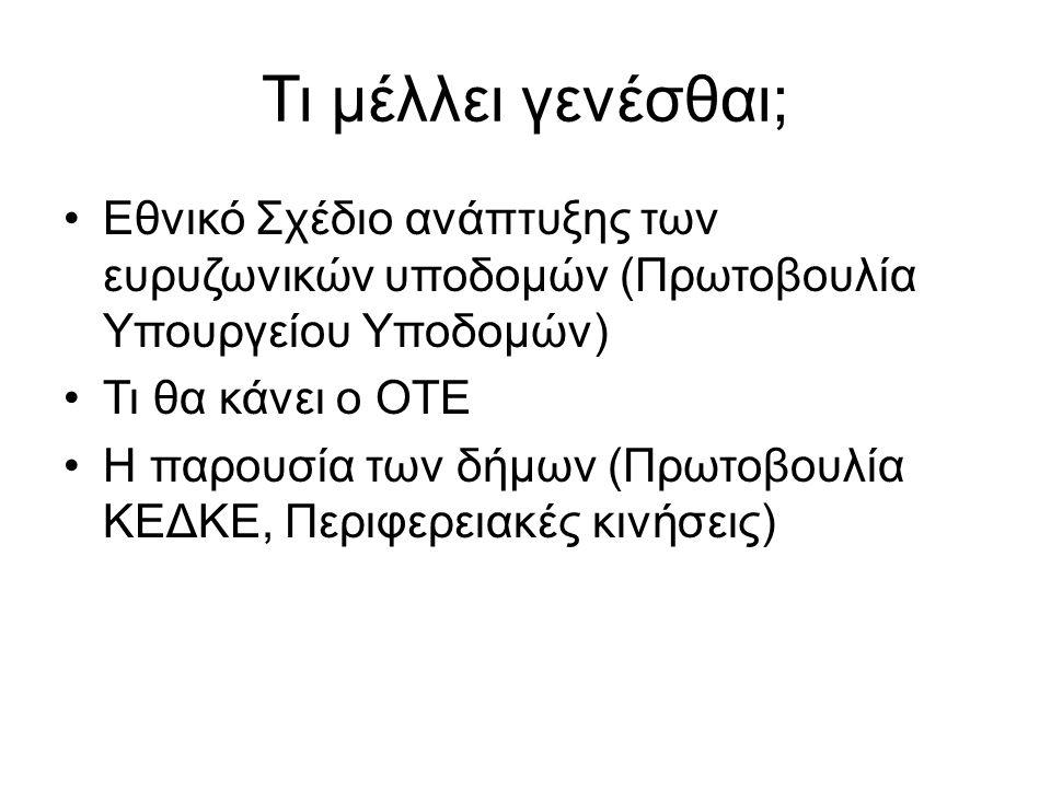 Τι μέλλει γενέσθαι; •Εθνικό Σχέδιο ανάπτυξης των ευρυζωνικών υποδομών (Πρωτοβουλία Υπουργείου Υποδομών) •Τι θα κάνει ο ΟΤΕ •Η παρουσία των δήμων (Πρωτ