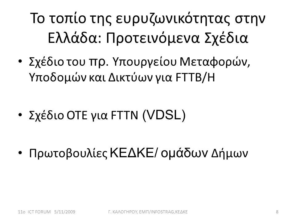 Το τοπίο της ευρυζωνικότητας στην Ελλάδα: Προτεινόμενα Σχέδια • Σχέδιο του πρ. Υπουργείου Μεταφορών, Υποδομών και Δικτύων για FTTB/H • Σχέδιο ΟΤΕ για