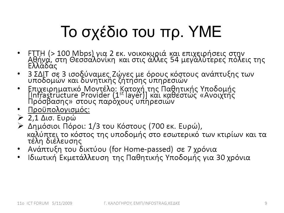 Το σχέδιο του πρ. ΥΜΕ • FTTH (> 100 Mbps) για 2 εκ. νοικοκυριά και επιχειρήσεις στην Αθήνα, στη Θεσσαλονίκη και στις άλλες 54 μεγαλύτερες πόλεις της Ε