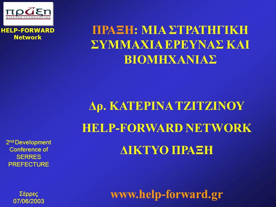 2 nd Development Conference of SERRES PREFECTURE Σέρρες 07/06/2003 HELP-FORWARD Network ΠΡΑΞΗ: ΜΙΑ ΣΤΡΑΤΗΓΙΚΗ ΣΥΜΜΑΧΙΑ ΕΡΕΥΝΑΣ ΚΑΙ ΒΙΟΜΗΧΑΝΙΑΣ Δρ. ΚΑΤ
