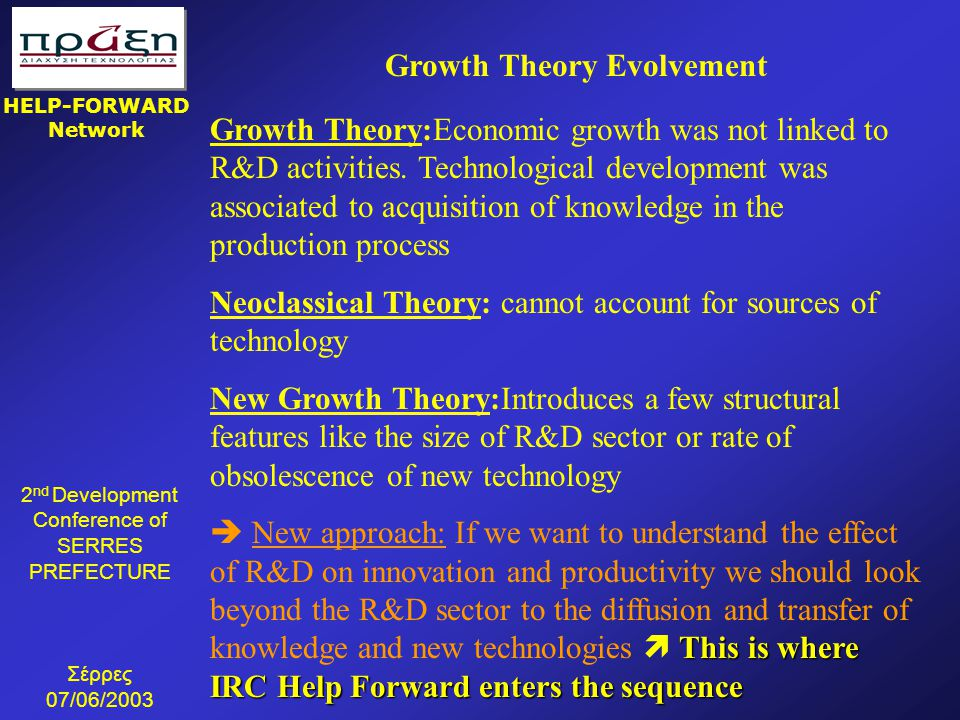 2 nd Development Conference of SERRES PREFECTURE Σέρρες 07/06/2003 HELP-FORWARD Network Growth Theory Evolvement Growth Theory:Economic growth was not linked to R&D activities.