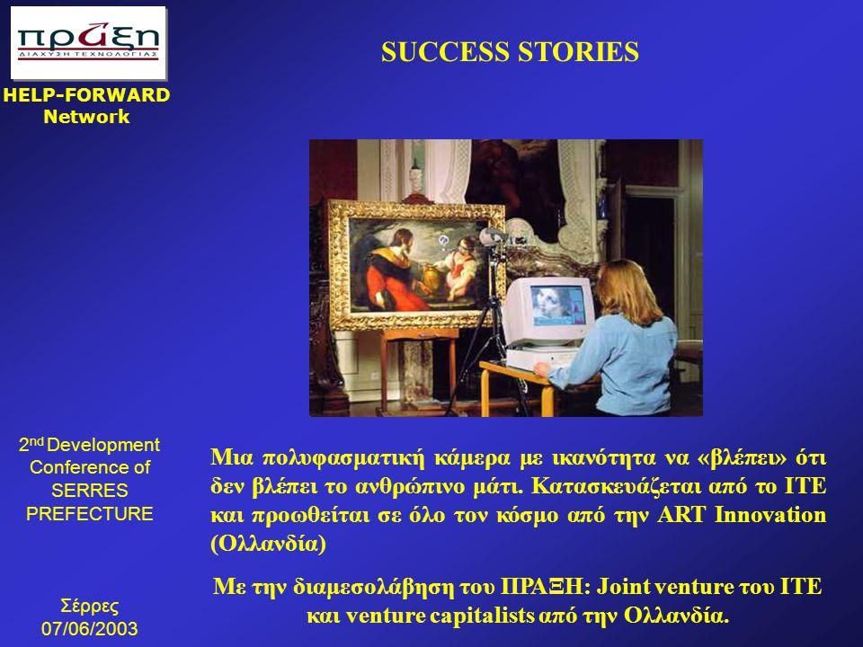 2 nd Development Conference of SERRES PREFECTURE Σέρρες 07/06/2003 HELP-FORWARD Network Μια πολυφασματική κάμερα με ικανότητα να «βλέπει» ότι δεν βλέπ
