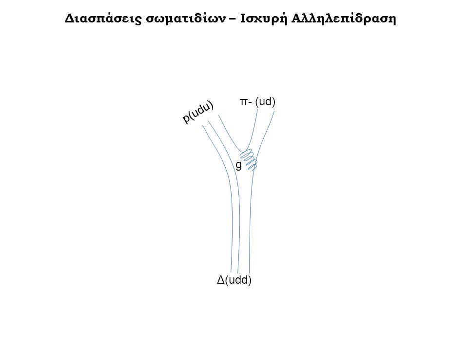 Διασπάσεις σωματιδίων – Ισχυρή Αλληλεπίδραση Δ(udd) p(udu) π- (ud) g