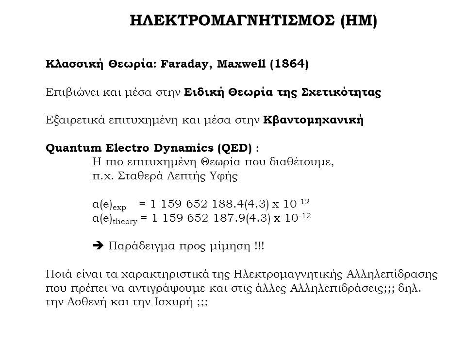 ΗΛΕΚΤΡΟΜΑΓΝΗΤΙΣΜΟΣ (ΗΜ) Κλασσική Θεωρία: Faraday, Maxwell (1864) Επιβιώνει και μέσα στην Ειδική Θεωρία της Σχετικότητας Εξαιρετικά επιτυχημένη και μέσα στην Κβαντομηχανική Quantum Electro Dynamics (QED) : Η πιο επιτυχημένη Θεωρία που διαθέτουμε, π.χ.