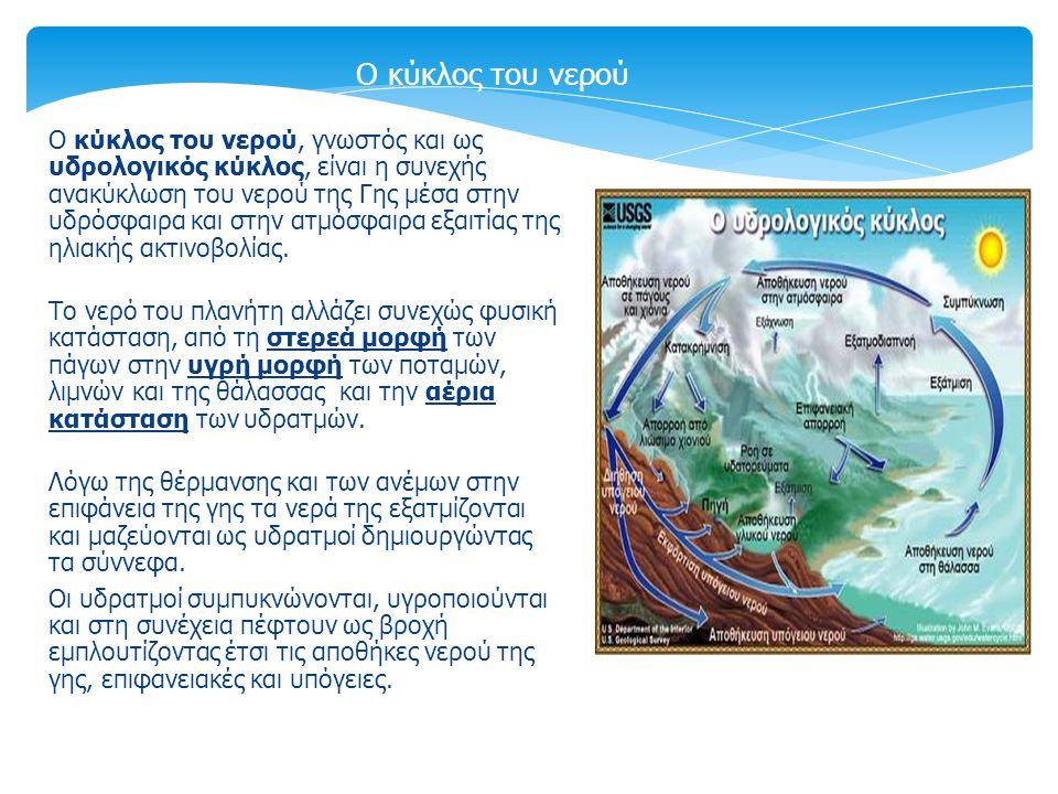 Ο κύκλος του νερού, γνωστός και ως υδρολογικός κύκλος, είναι η συνεχής ανακύκλωση του νερού της Γης μέσα στην υδρόσφαιρα και στην ατμόσφαιρα εξαιτίας της ηλιακής ακτινοβολίας.