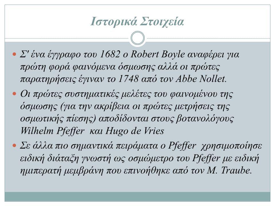 Ιστορικά Στοιχεία  Σ' ένα έγγραφο του 1682 ο Robert Boyle αναφέρει για πρώτη φορά φαινόμενα όσμωσης αλλά οι πρώτες παρατηρήσεις έγιναν το 1748 από το