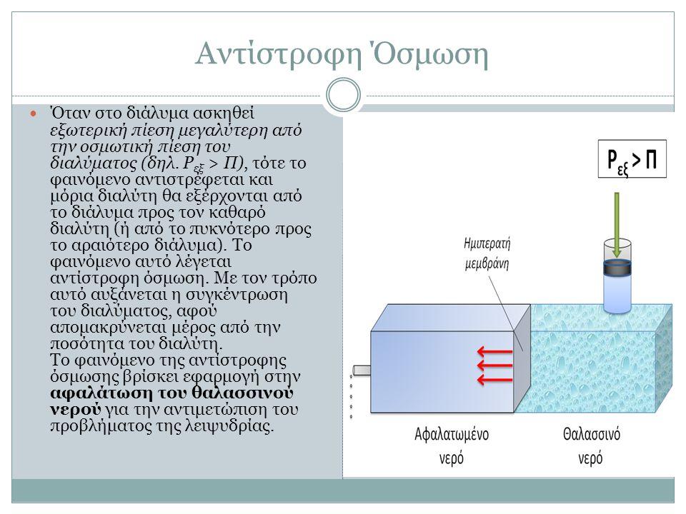 Αντίστροφη Όσμωση  Όταν στο διάλυμα ασκηθεί εξωτερική πίεση μεγαλύτερη από την οσμωτική πίεση του διαλύματος (δηλ. P εξ > Π), τότε το φαινόμενο αντισ