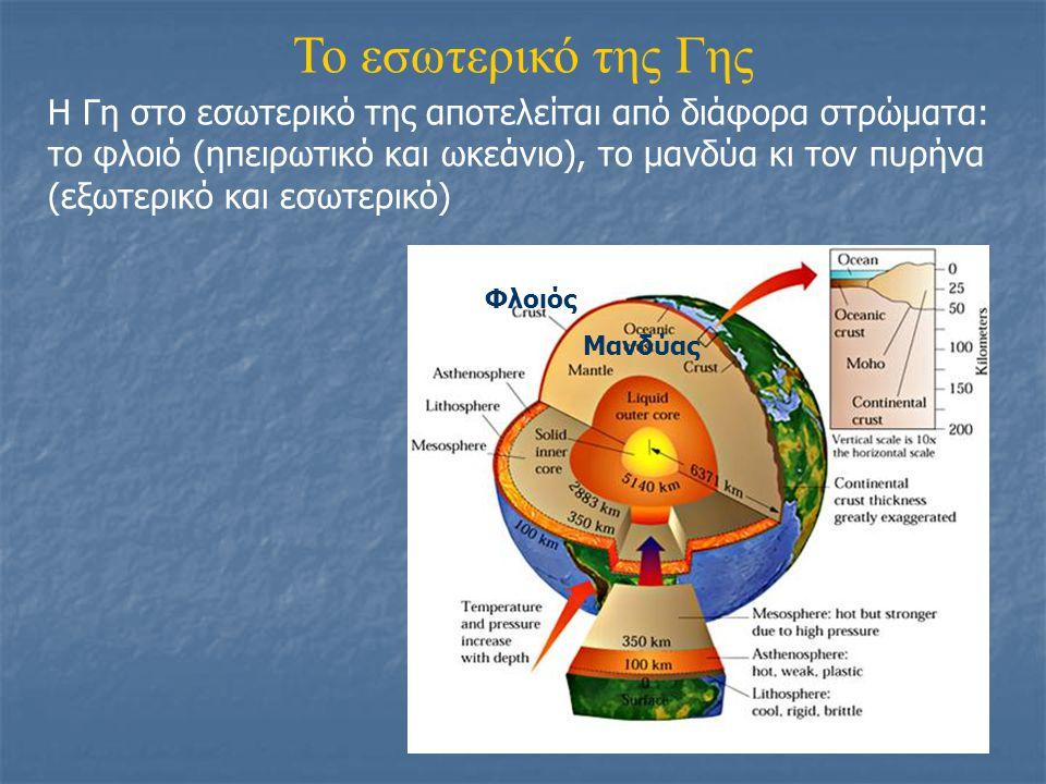 Το εσωτερικό της Γης Η Γη στο εσωτερικό της αποτελείται από διάφορα στρώματα: το φλοιό (ηπειρωτικό και ωκεάνιο), το μανδύα κι τον πυρήνα (εξωτερικό κα