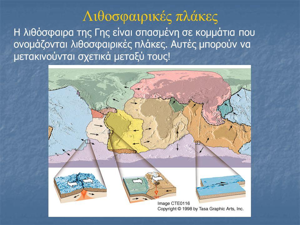 Λιθοσφαιρικές πλάκες Η λιθόσφαιρα της Γης είναι σπασμένη σε κομμάτια που ονομάζονται λιθοσφαιρικές πλάκες. Αυτές μπορούν να μετακινούνται σχετικά μετα