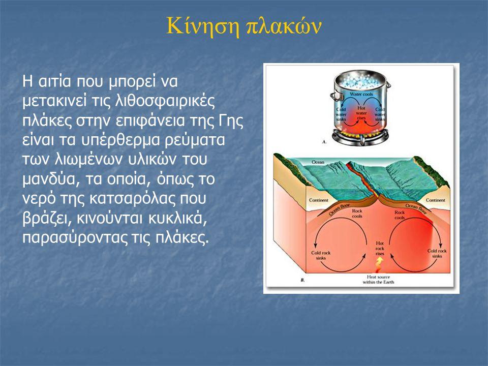 Κίνηση πλακών Η αιτία που μπορεί να μετακινεί τις λιθοσφαιρικές πλάκες στην επιφάνεια της Γης είναι τα υπέρθερμα ρεύματα των λιωμένων υλικών του μανδύ