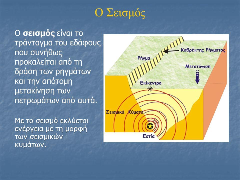 O Σεισμός Ο σεισμός είναι το τράνταγμα του εδάφους που συνήθως προκαλείται από τη δράση των ρηγμάτων και την απότομη μετακίνηση των πετρωμάτων από αυτ