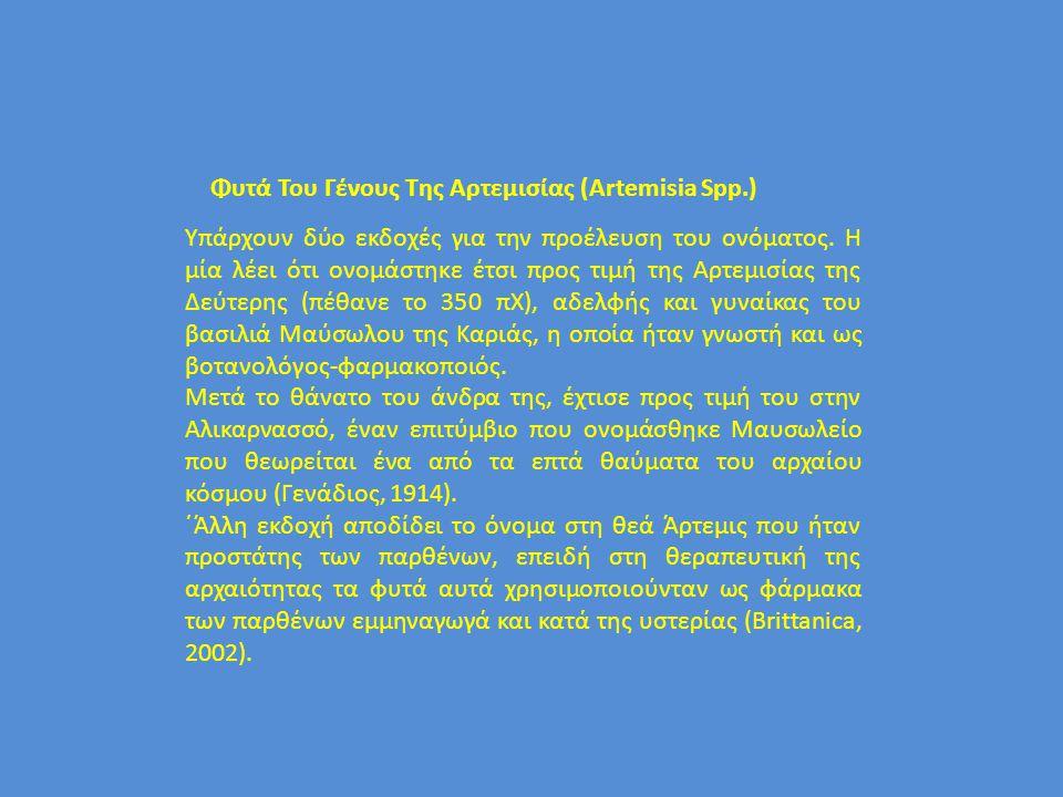 Φυτά Του Γένους Της Αρτεμισίας (Artemisia Spp.) Υπάρχουν δύο εκδοχές για την προέλευση του ονόματος. Η μία λέει ότι ονομάστηκε έτσι προς τιμή της Αρτε