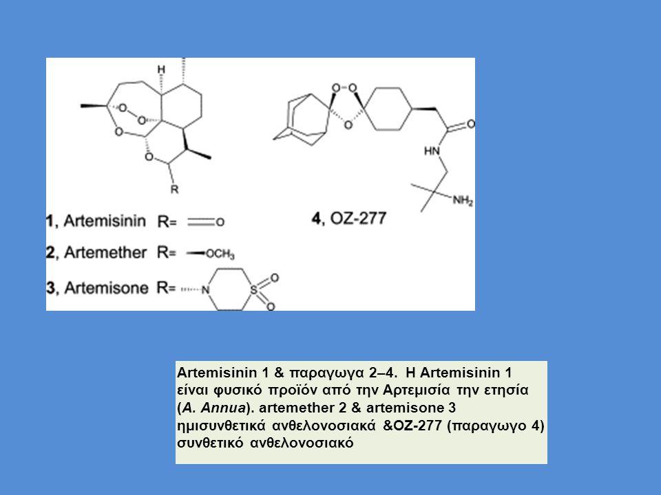 Artemisinin 1 & παραγωγα 2–4. Η Artemisinin 1 είναι φυσικό προϊόν από την Αρτεμισία την ετησία (A. Annua). artemether 2 & artemisone 3 ημισυνθετικά αν