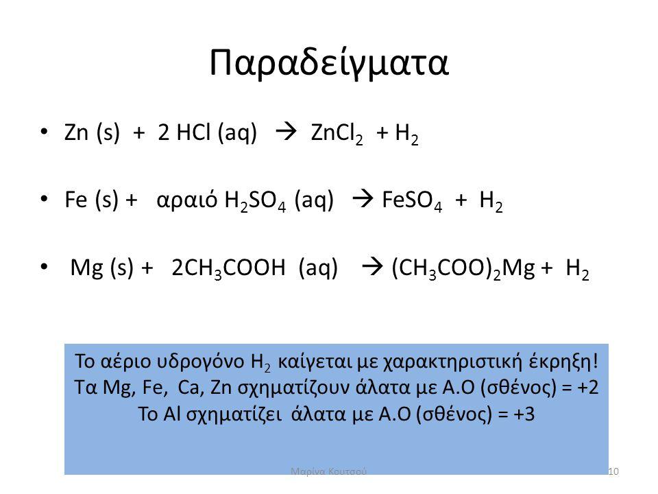 Παραδείγματα • Zn (s) + 2 HCl (aq)  ZnCl 2 + H 2 • Fe (s) + αραιό H 2 SO 4 (aq)  FeSO 4 + H 2 • Mg (s) + 2CH 3 COOH (aq)  (CH 3 COO) 2 Mg + H 2 Το