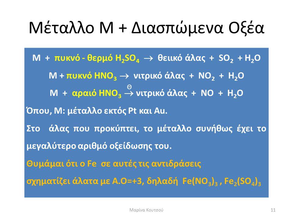 Μέταλλο Μ + Διασπώμενα Οξέα Μ + πυκνό - θερμό H 2 SO 4  θειικό άλας + SO 2 + H 2 O Μ + πυκνό HΝΟ 3  νιτρικό άλας + ΝO 2 + H 2 O Μ + αραιό HΝΟ 3  νι