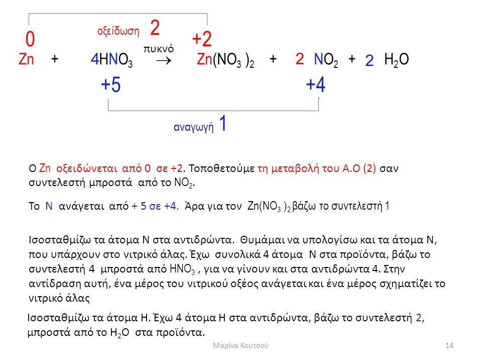 Zn + HNO 3  Zn(NO 3 ) 2 + NO 2 + H 2 O 0+2+2 +5+5+4+4 οξείδωση 2 αναγωγή 1 Ο Zn οξειδώνεται από 0 σε +2. Τοποθετούμε τη μεταβολή του Α.Ο (2) σαν συντ