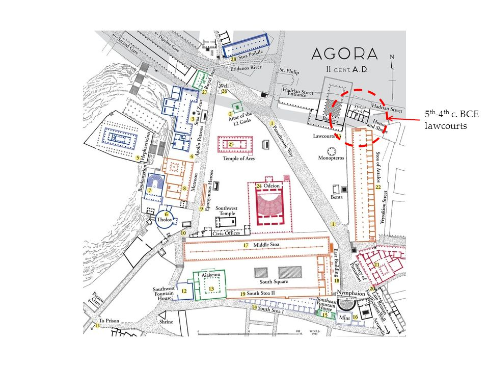 NE corner of Agora, 5 th -2 nd centuries BCE Lawcourt ( Square Peristyle ) from the NE corner of the Agora, ca.
