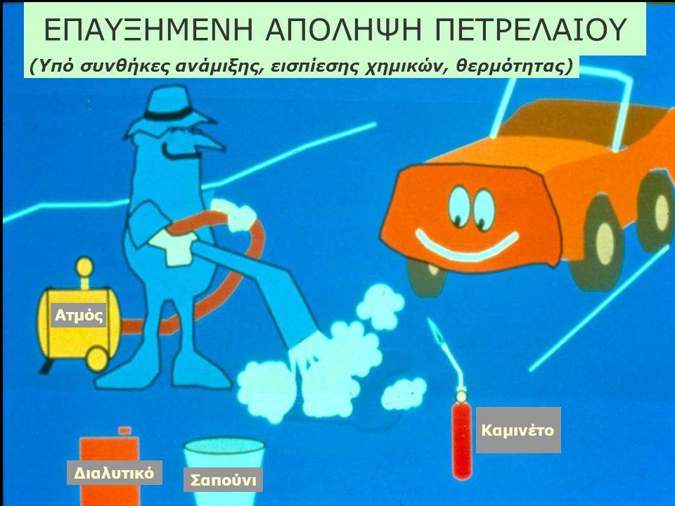 ΕΠΑΥΞΗΜΕΝΗ ΑΠΟΛΗΨΗ ΠΕΤΡΕΛΑΙΟΥ (Υπό συνθήκες ανάμιξης, εισπίεσης χημικών, θερμότητας) Ατμός Καμινέτο Διαλυτικό Σαπούνι