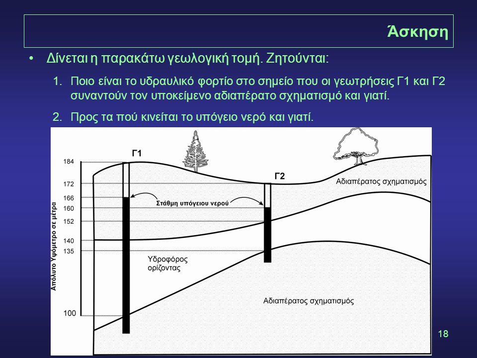 18 Άσκηση •Δίνεται η παρακάτω γεωλογική τομή. Ζητούνται: 1.Ποιο είναι το υδραυλικό φορτίο στο σημείο που οι γεωτρήσεις Γ1 και Γ2 συναντούν τον υποκείμ
