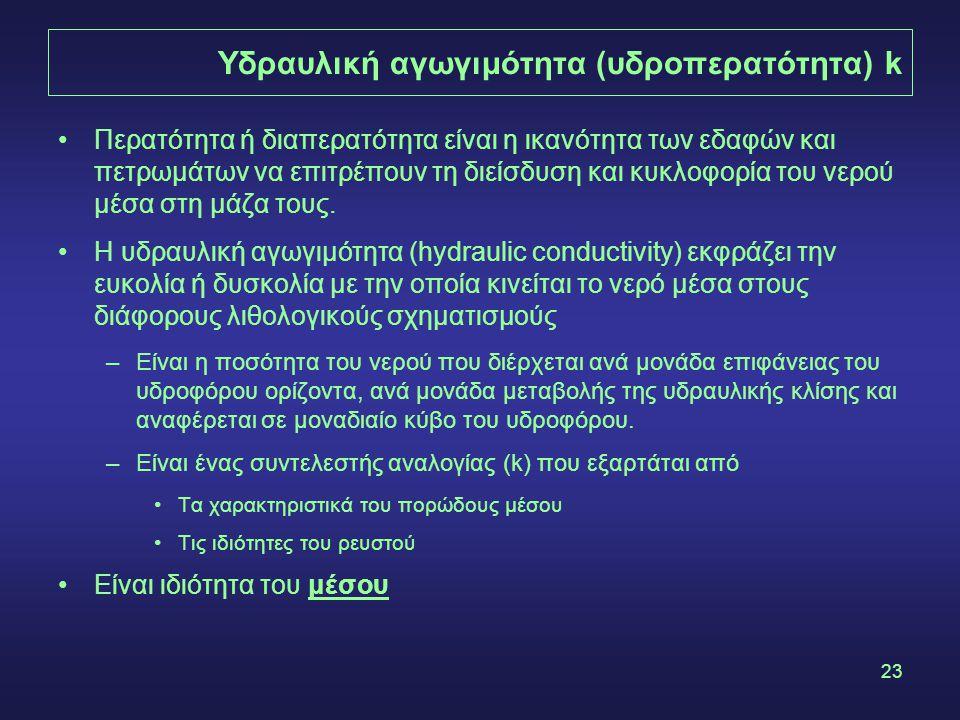 23 Υδραυλική αγωγιμότητα (υδροπερατότητα) k •Περατότητα ή διαπερατότητα είναι η ικανότητα των εδαφών και πετρωμάτων να επιτρέπουν τη διείσδυση και κυκ