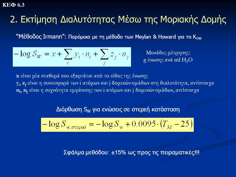 """2. Εκτίμηση Διαλυτότητας Μέσω της Μοριακής Δομής """"Μέθοδος Irmann"""": Παρόμοια με τη μέθοδο των Meylan & Howard για το Κ OW x είναι μία σταθερά που εξαρτ"""