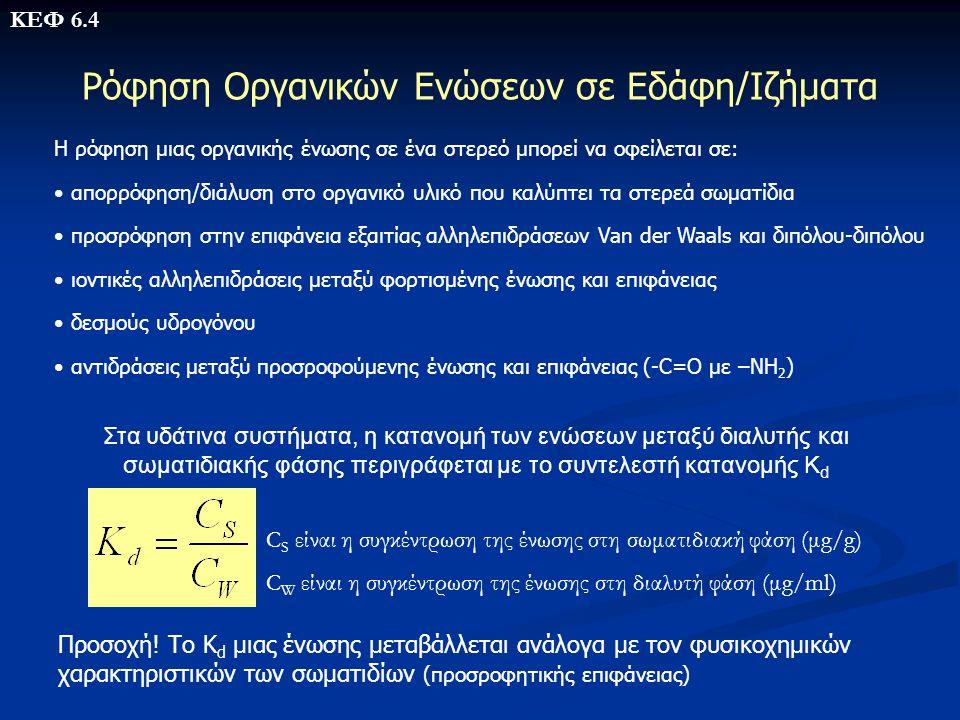 Ρόφηση Οργανικών Ενώσεων σε Εδάφη/Ιζήματα Η ρόφηση μιας οργανικής ένωσης σε ένα στερεό μπορεί να οφείλεται σε: • απορρόφηση/διάλυση στο οργανικό υλικό