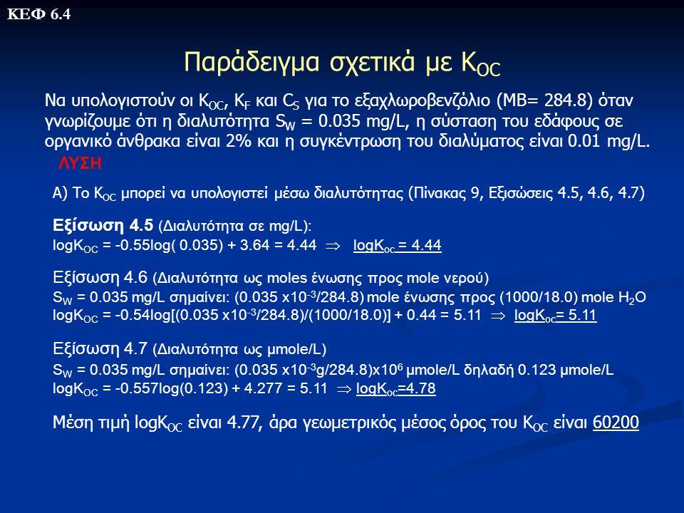 Παράδειγμα σχετικά με Κ OC Να υπολογιστούν οι Κ OC, Κ F και C S για το εξαχλωροβενζόλιο (ΜΒ= 284.8) όταν γνωρίζουμε ότι η διαλυτότητα S W = 0.035 mg/L
