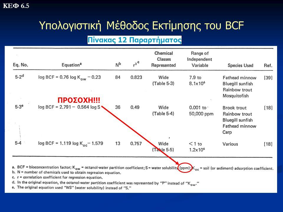 Υπολογιστική Μέθοδος Εκτίμησης του BCF Πίνακας 12 Παραρτήματος ΠΡΟΣΟΧΗ!!! ΚΕΦ 6.5